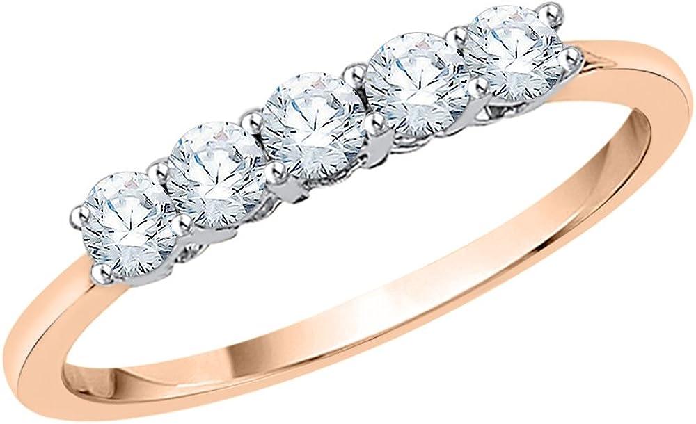 KATARINA Five Stone Diamond Anniversary Ring in 10K Gold (1/2 cttw, G-H, I2-I3)