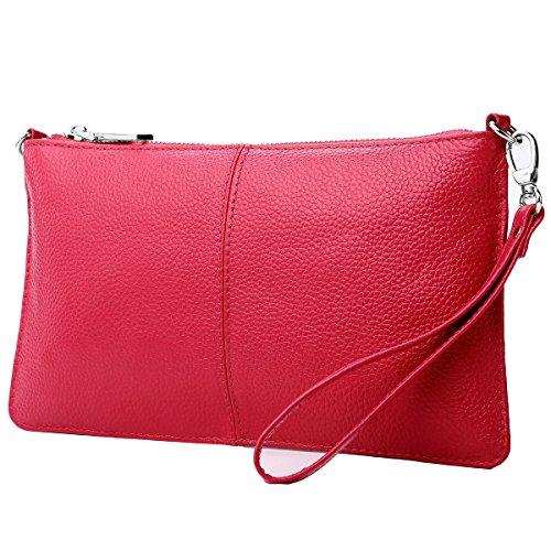 (Lecxci Leather Crossbody Purses Clutch Phone Wallets with Card Slots for Women (Rose Red))