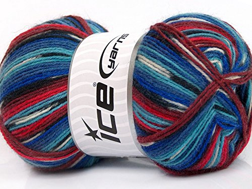 - (1) 100 Gram Super Sock, Red White Blues Black + Self-Patterning Superwash Wool Sock Yarn