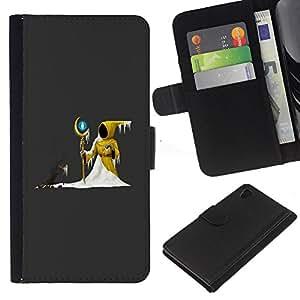 Planetar® Modelo colorido cuero carpeta tirón caso cubierta piel Holster Funda protección Para Sony Xperia Z4 / Sony Xperia Z4V / E6508 ( The Yellow Wizard )