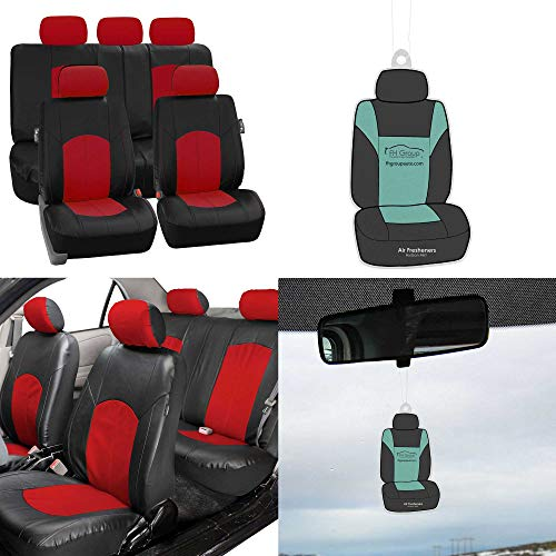 (FH Group PU008115 Perforated Leatherette Full Set Car Seat Covers, Airbag & Split Ready, Red/Black Color w. Free Air Freshener - Fit Most Car, Truck, SUV, or Van)