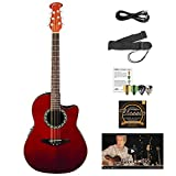 Image of Ovation AB24-RR-KIT-1 Applause Balladeer Acoustic-Electric Cutaway Guitar with Chromacast Accessories, Red