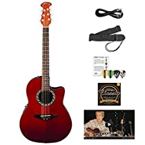 Ovation AB24-RR-KIT-1 Applause Balladeer Acoustic-Electric Cutaway Guitar with Chromacast Accessories, Red
