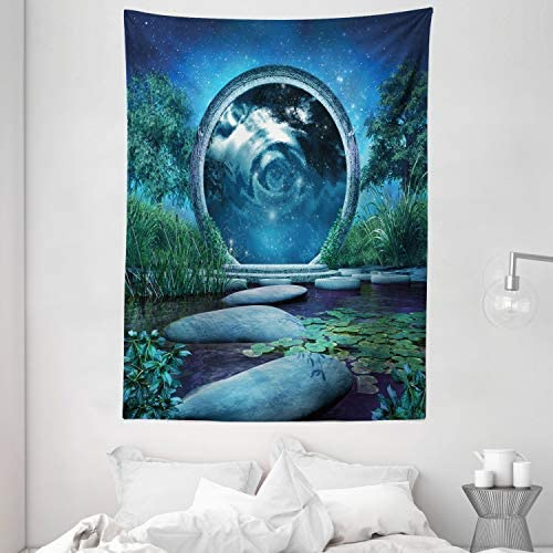 Ambesonne Fantasy Tapestry, Fairytale Landscape with Portal and Blue Lake Plants Rock Path Cosmic Sky, Wall Hanging for Bedroom Living Room Dorm, 60 X 80 , Blue Green