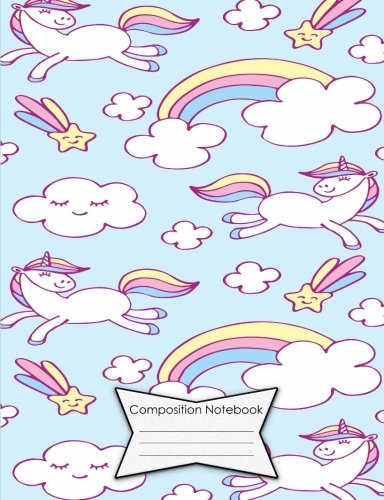 """Composition Notebook Dot Grid Graph (.2"""" apart) 140 Page Book (7.44 x 9.69""""): Light Blue Flying Unicorns & Rainbows Cover Design pdf"""