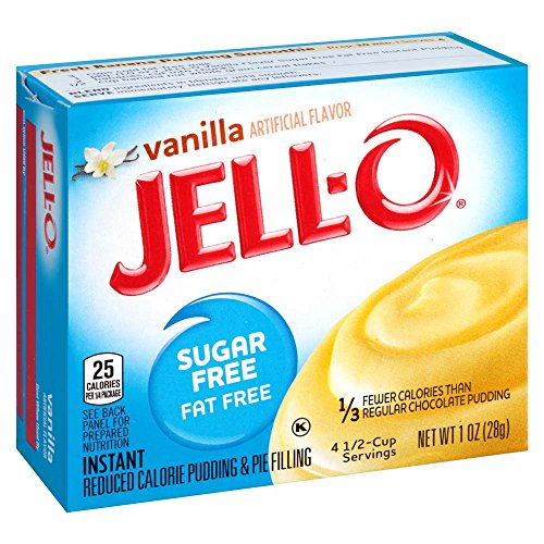 Fat Free Pudding (Jell-O Sugar-Free Vanilla Instant Pudding Mix 1 Ounce Box (Pack of 6))