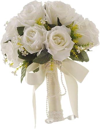 Bouquet Sposa Con Perle.Non Brand Baoblaze Bouquet Da Sposa Di Raso Con Perle Fiore