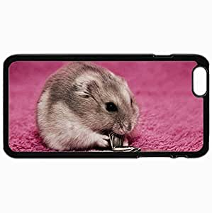 Customized Cellphone Case Back Cover For iPhone 6 Plus, Protective Hardshell Case Personalized Hamster Seeds Food Mat Black