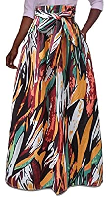Yayu Women's African Dashiki African Maxi Skirt Skater High Waisted A Line Long Skirts