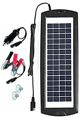 Sunway Solar Car Battery Charger Portable Solar Power Trickle Charger Maintainer Backup for 12V Battery of Auto RV Motorcycle Boat Marine Vehicle Tractor ATV Snowmobile Watercraft