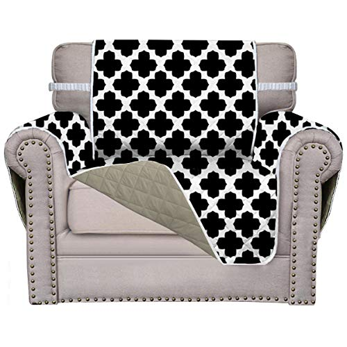 Easy-Going Sofa Covers, Slipcovers, Reversible Quilted Furniture Protector, Improved Anti-Slip with Elastic Straps and Foams (Chair, Black Four-Leaf Clover/Beige)