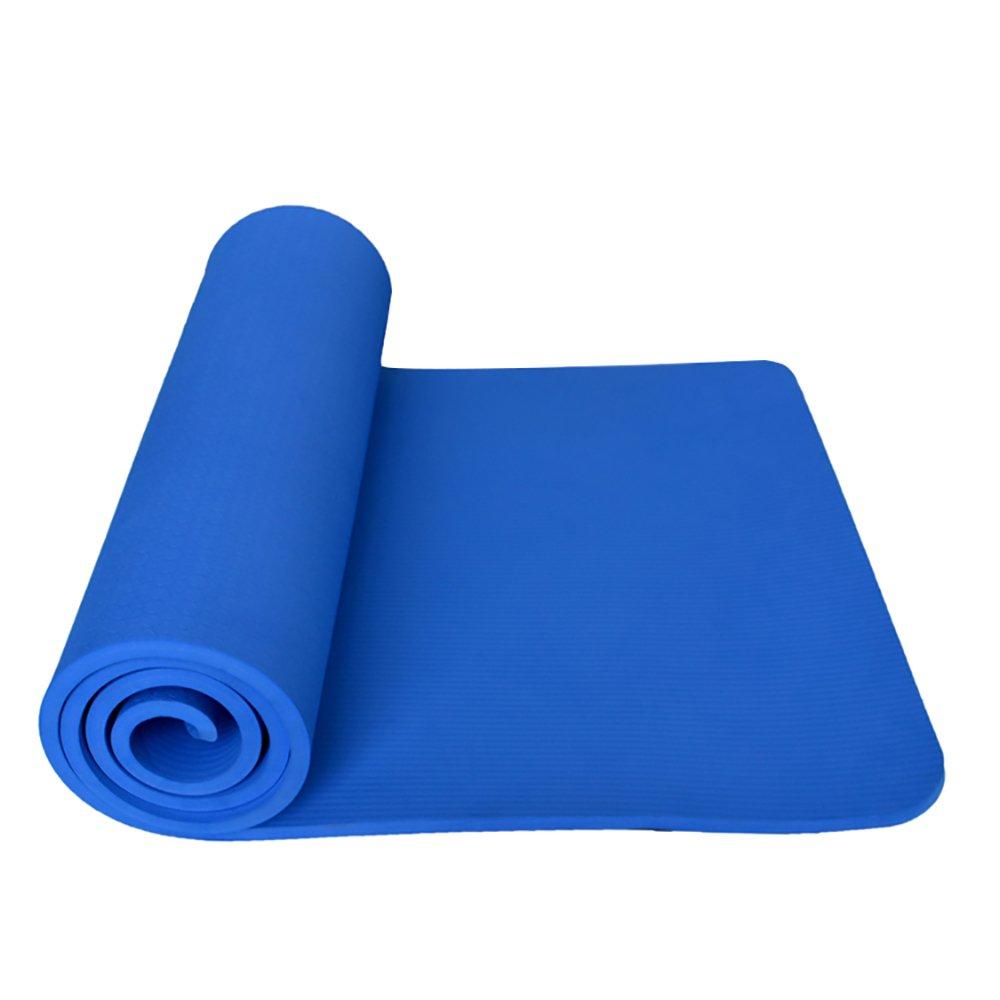 LJJ Yoga-Matte 10MM multifunktionale NBR Anti-Rutsch-Fitnessmatte Tanzmatte (Blau 180  60cm)
