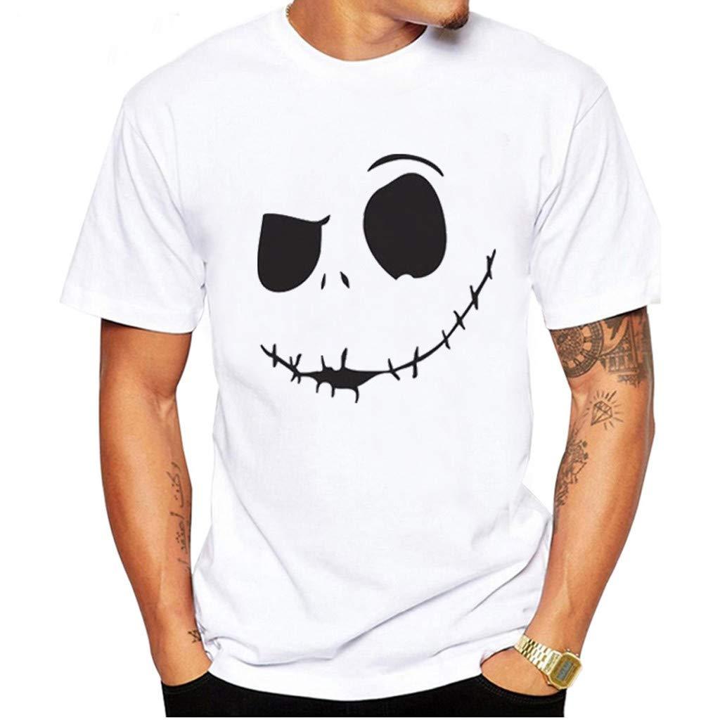 Homebaby Maglietta da Uomo Eleganti Vintage T-Shirt Comodo Top con Scollo a Giro Manica Corta con Stampa Smiley Fit Fitness Tops Casuale Palestra Estive Camicie Uomo Slim