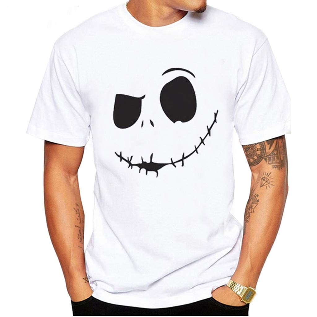 nanzhushangmao Men's Evil Smiling Face Summer Tee Adult Graphic T-Shirt Apparel Round-Collar Cotton Shirt White