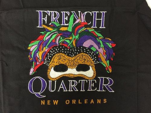 New Orleans Mardi Gras Embroidered Feather Mask Apron