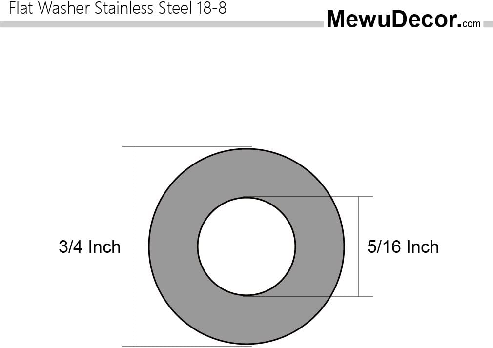 304 by MewuDecor 1//4 Flat Washer Stainless Steel 18-8 100 PCS 5//8 Outside Diameter