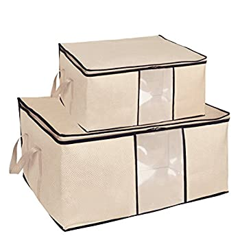 Pack 2 Folding Breathable Jumbo Storage Bag for Comforters, Blanket, Clothes (Beige)
