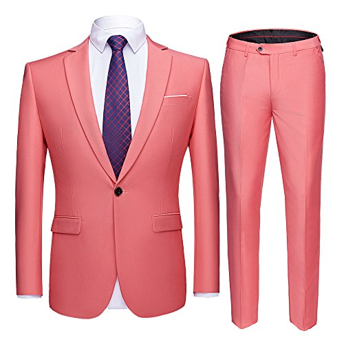 YIMANIE Men's Suit Slim Fit One Button 2 Piece Suit Tuxedo Business Wedding Party Casual