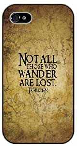 iPhone 4 / 4s Bible Verse - Vintage. Not all those who wander are lost. Tolkien - black plastic case / Verses, Inspirational and Motivational by Maris's Diary