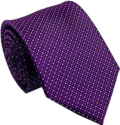 Mens Tie Polka Dot Purple Plum Jacquard  Woven Ties Necktie Wedding Silk