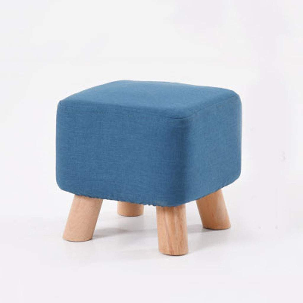 bluee Solid Wood stool - Household Coffee Table Fabric Sofa Change shoes stool, Strong Load Capacity, Soft, 28  28  25cm