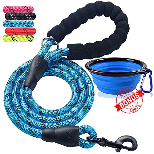 ladoogo Heavy Duty Dog Leash - Comfortable Foam Handle, 5 ft Long - Dog Leashes for Medium Large Dogs with A Free Collapsible Pet Bowl (Blue)