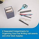 LAMOTI Leather Pen Holder, 2 Compartments Pencil