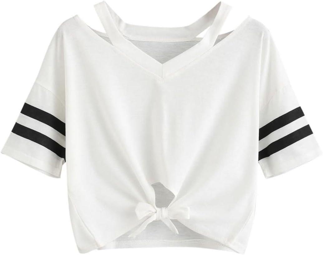 Blusa de Mujer Sexy Camiseta Corta Mujer Manga Corta Blusa Casual Tops Crop Tops niña Blusa de Vestir Señoras Camisa de Yoga Deportiva: Amazon.es: Deportes y aire libre
