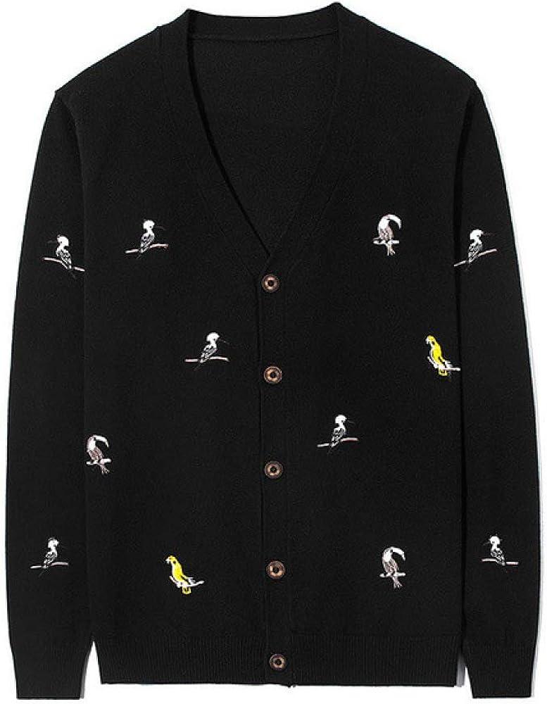 Loeay Suéter de Punto Masculino Estilo japonés Cárdigan Vintage Primavera Bordado Divertido Pájaro Cárdigan Suéter de Manga Larga Ropa de Abrigo Tops