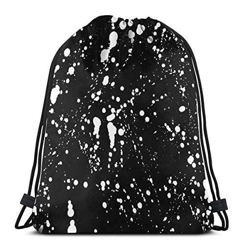 Absolute White Ink Splatter_2074,Drawstring Backpack Gym Spacious Pull String Backpack for Sport School Traveling Gym Basketball Yoga 13x18 inch