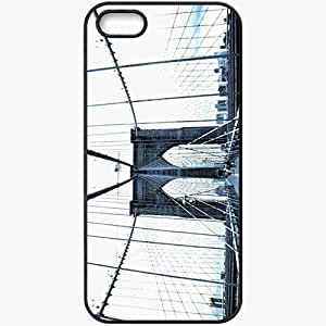 Protective Case Back Cover For iPhone 5 5S Case Design Bridge People Black
