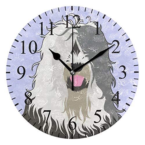 Liang Round Wall Clock 01-01 Old English Sheepdog Acrylic Silent Non-Ticking for Home Decor Creative Clock