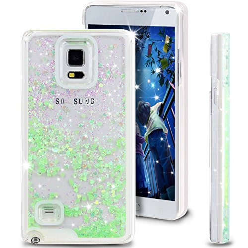 DStores Note 4 Case,Bling Glitter Heart Dynamic Liquid Quicksand Sparkle Hybrid Bumper Case for Samsung Galaxy Note 4 (Green - Hard Medium Green Dark