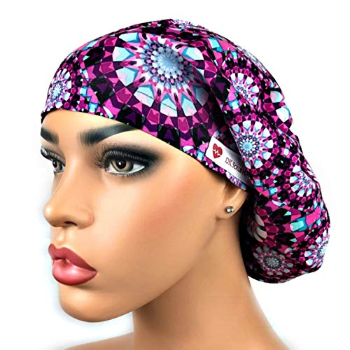 (DK Scrub Hats Women's Adjustable Bouffant Surgical Ponytail Cap Purple Kaleidoscope)
