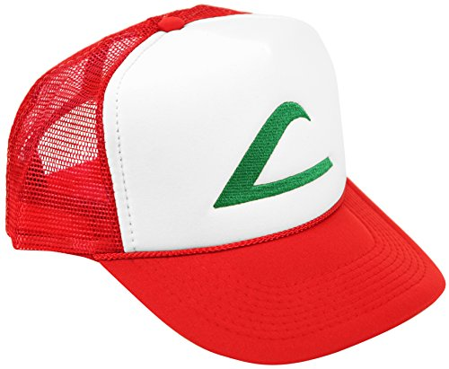 Pokemon Ash Ketchum Cosplay Hat 5 Panel Mesh Cap with Plastic Snap Closure - Adult & Youth Sizes