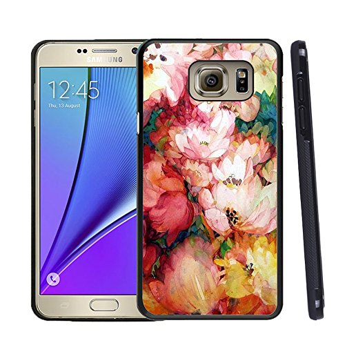 Note 5 Case For Samsung, Customized Black Soft Rubber Samsung Galaxy Note 5 Case Lotus flower - Blooming
