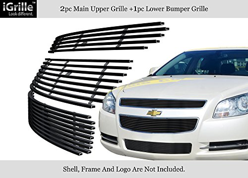 APS for 08-12 2012 Chevy Malibu Black Stainless Steel Billet Grille Grill Combo #N19-J51016C