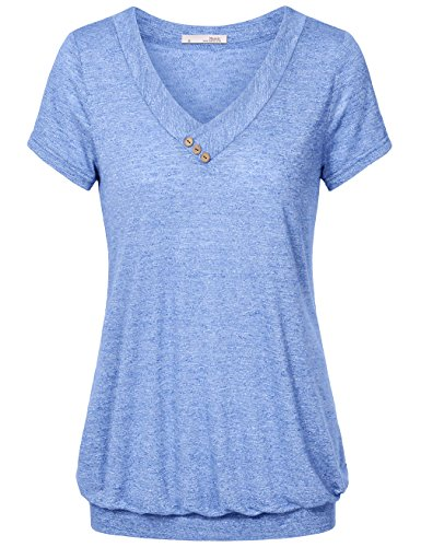 Messic Womens Lightweight T Shirt Pleated