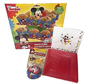 Disney Junior Mickey Mouse Clubhouse 4 Item Birthday Party Bundle - Includes cupcake stand, baking cups, napkins & plates