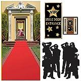 Alfombra Roja de Hollywood Academy premios y óscares parte Tema Suministros y camino de Juego (3unidades), color rojo, Paparazzi Props de decoración y puerta de entrada vip cubierta
