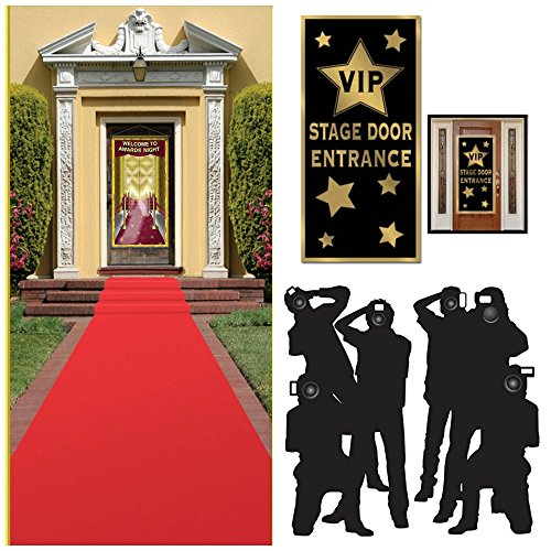 Hollywood Red Carpet  Awards Ceremony  Party Theme Supplies and Decorating Kit of   3 Items - Red Runner, Paparazzi Props and VIP Entrance Door Cover -