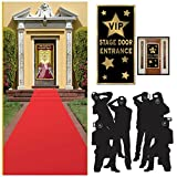 Red Rug Hollywood Red Carpet Academy Awards and Oscars Party Theme Supplies and Decorating Set ( 3 items) - Red Runner, Paparazzi Props and VIP Entrance Door Cover