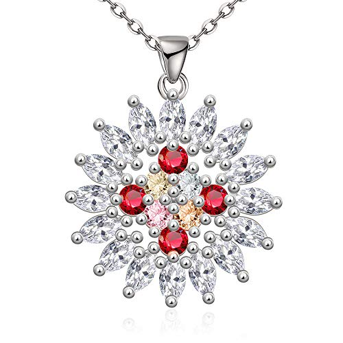 MYYQ. Women Necklace Pendant,Fashion Necklace Platinum Crystal Diamond Classic Sun Flower Lovers Zircon Pendant Jewelry