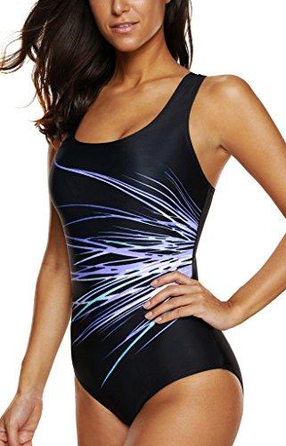 Womens Printed actievwear swimsuits swimwear one-piece swimsuit womens ,XXX-Large,Pur