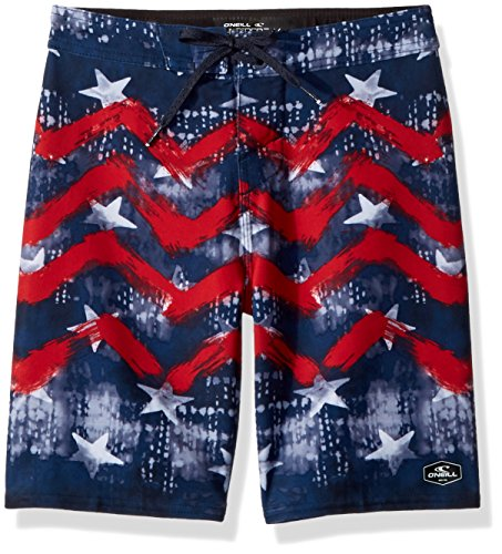 O'Neill Big Boys Hyperfreak Stretch with Back Pocket Boardshort, Independence RED White Blue, 24