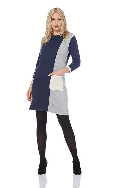 a507e7defd Roman Originals Women s Colour Block Jumper Dress Sizes 10-20 - Navy 18 at Amazon  Women s Clothing store