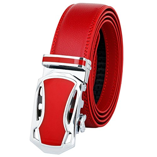 moonsix Dress Belts for Men,Business Ratchet Genuine Leather Belt with Automatic Buckle,Style 1 Red -