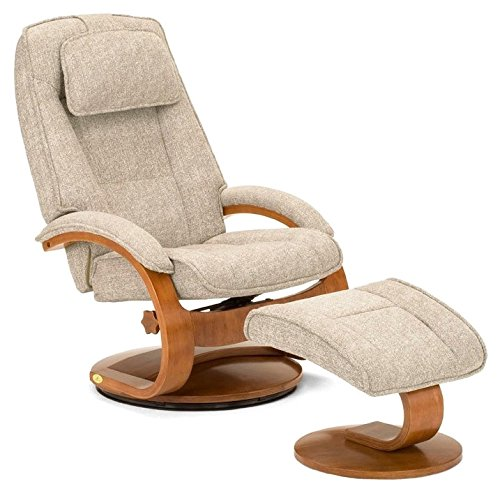 Teatro Fabric Recliner with Ottoman in Tan by Mac Motion