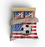 DIY Duvetcover Wonderful Patriotic American Flag Soccer Cotton Microfiber 3pc 90''x90'' Bedding Quilt Duvet Cover Sets 2 Pillow Cases Queen Size
