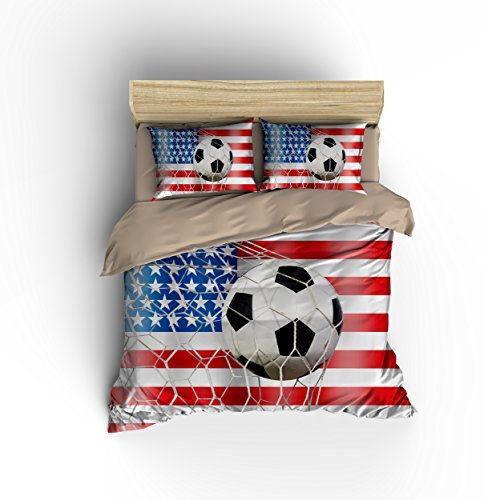DIY Duvetcover Wonderful Patriotic American Flag Soccer Cotton Microfiber 3pc 90''x90'' Bedding Quilt Duvet Cover Sets 2 Pillow Cases Queen Size by DIY Duvetcover